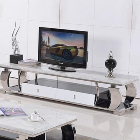 电视柜地柜 大理石 简约 烤漆 不锈钢地柜 两抽屉