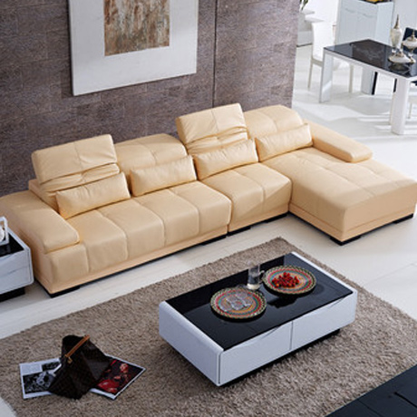 沙发 欧式沙发 皮沙发 客厅组合 小麦黄 单人位+三人位+左
